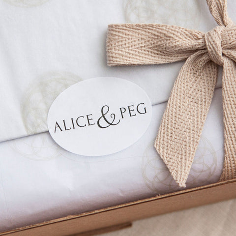 Alice & Peg Balance Box - Vegan letterbox gift set beautifully handwrapped using recycled tissue paper and plastic-free cotton ribbon.