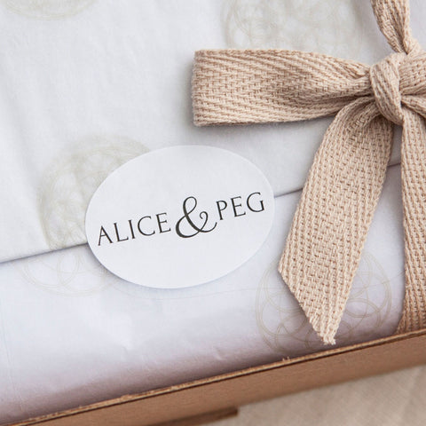 Alice & Peg New Beginnings Box - Luxury Ecofriendly Vegan New Mum & Baby Pamper Gift Set - Beautifully handwrapped in Alice & Peg's stylish custom gift wrap.