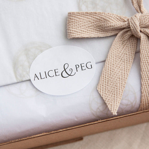 Every Alice & Peg gift set comes beautifully handwrapped in recycled tissue paper and plastic-free cotton ribbon.