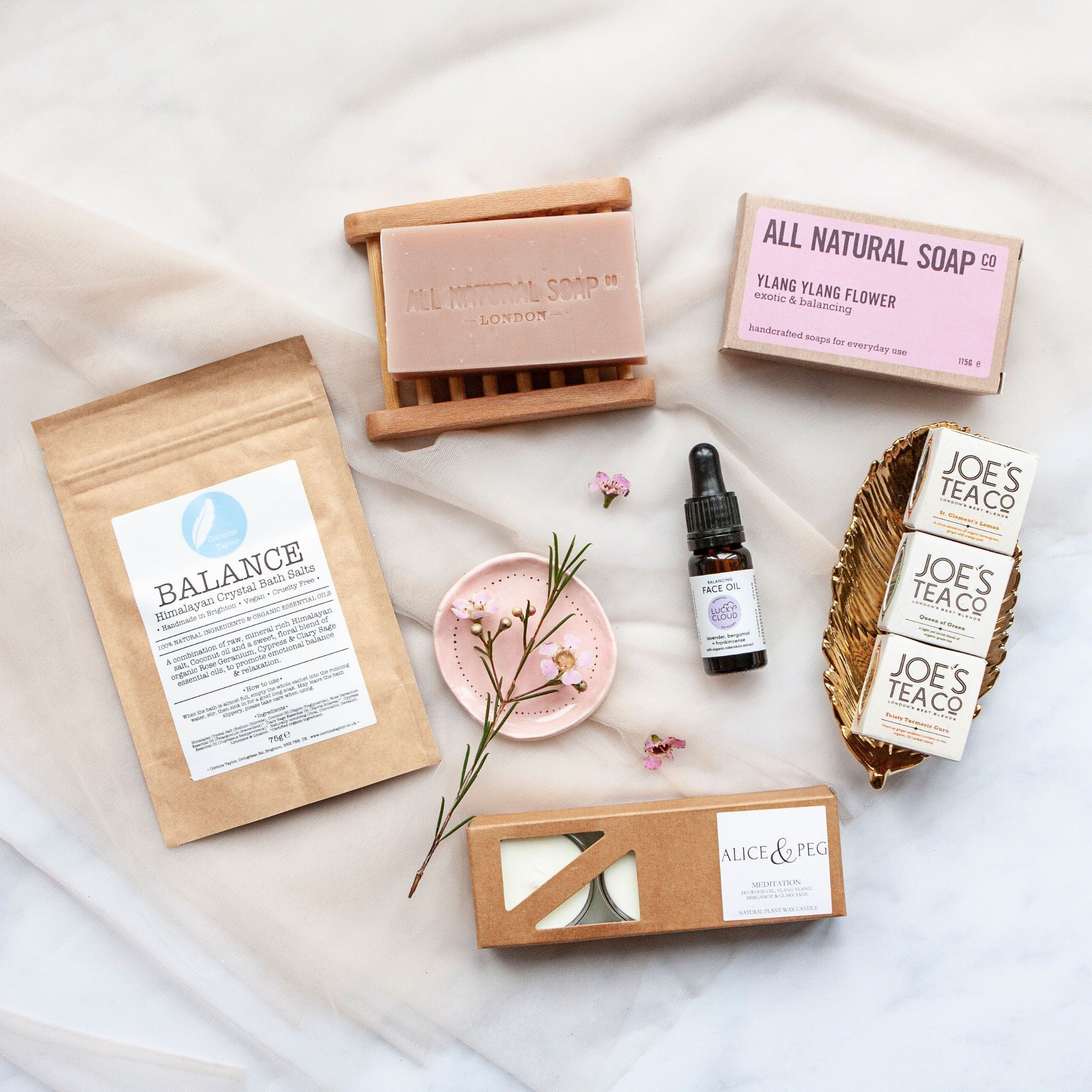 Alice & Peg Balance Box - Vegan letterbox gift set, designed to help you feel balanced, featuring handmade Balancing Face Oil, handmade Balance Bath Salts, recycled glass natural tealights, handmade Ylang Ylang soap and a set of three organic herbal teas.