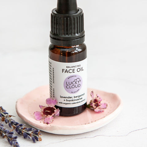 Alice & Peg Balance Box - Vegan letterbox gift set featuring handmade balance face oil, made by Lucky Cloud Skincare.