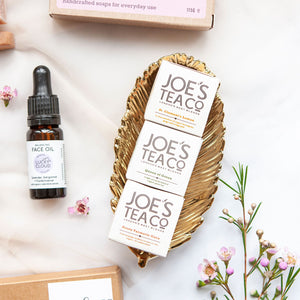 Alice & Peg Balance Box - Vegan letterbox gift set featuring a set of three balancing organic teas by Joe's Tea Company.  St Clements Lemon, Queen of Green and Feisty Turmeric Guru matchbox teas.