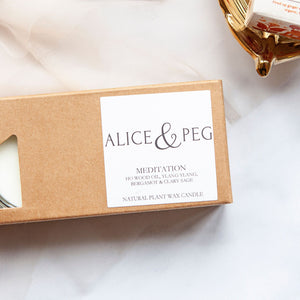 Alice & Peg Balance Box - Vegan letterbox gift set featuring hand poured natural tealights, made using natural plant wax and recycled glass.