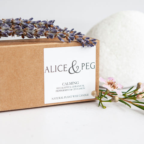 Alice & Peg Calm Box - Vegan Ecofriendly Pamper Gift Box - Featuring a set of three hand poured Calming Tea lights. Made using natural plant wax, essential oils and recycled glass.