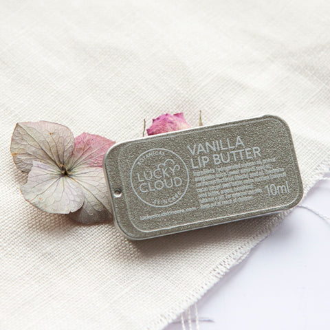 Alice & Peg Live The Little Things Box - Thoughtful ethical letterbox gift set featuring handmade vegan vanilla lip butter by Lucky Cloud Skincare packaged in a cute little retro tin.