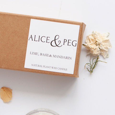 Alice & Peg Live The Little Things Box - Ethical letterbox gift set featuring hand poured natural tea lights, made using recycled glass. A classic clean scent, Lime Basil and Mandarin