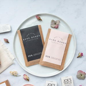 Alice & Peg Live The Little Things Box - Thoughtful ethical letterbox gift set featuring two mini handmade chocolate bars by Bare Bones