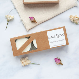 Alice & Peg Live The Little Things Box - Thoughtful ethical letterbox gift set featuring hand poured natural tea lights, made using recycled glass. A classic clean scent, Lime Basil and Mandarin.