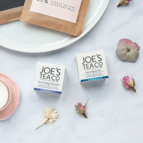 Alice & Peg Live The Little Things Box - Thoughtful ethical letterbox gift set featuring a set of two cup ready organic teas by ethical tea company Joe's Tea. Ever-so-english Breakfast tea and sweet chamomile.