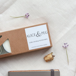 Alice & Peg Thoughts Box - Thoughtful letterbox gift set - Featuring a set of three Lime, Basil & Mandarin tealights. Handpoured in the UK using natural plant wax and recycled glass.