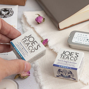 Alice & Peg Thoughts Box - Thoughtful letterbox gift set - Includes two organic matchbox teas by Joe's Tea Co. Cup ready pyramid bags, ever-so-english breakfast and sweet chamomile.