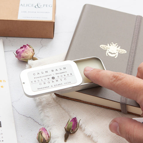 Alice & Peg Thoughts Box - Thoughtful letterbox gift set - Featuring a handmade Calm Balm by Yellow Gorse. Packaged in a handy pocket sized tin, this balm combines frankincense and bergamot, beeswax and plant oils to create a skin loving balm.