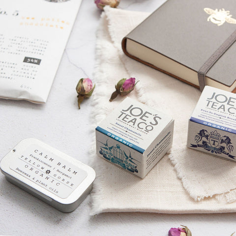 Alice & Peg Thoughts Box - Thoughtful letterbox gift set - Featuring a handmade Calm Balm by Yellow Gorse and two organic matchbox teas by Joe's Tea.