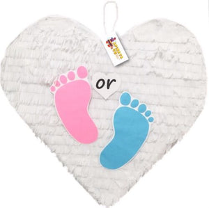 APINATA4U White Heart Pinata with Pink and Blue Footprints for Gender Reveal