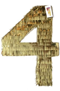 Gold Number Four Pinata