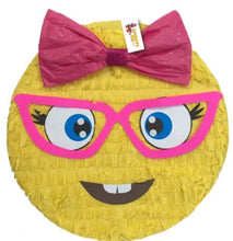 "Load image into Gallery viewer, APINATA4U Emoticon Pinata 16""  Emoticon Party Favors, Girly Nerd Emoticon"