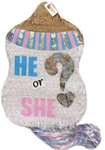 APINATA4U Gender Reveal Pinata, He or She Baby Bottle Party Favor