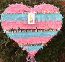 "Load image into Gallery viewer, APINATA4U Heart Shape Gender Reveal Pinata He or She? Pink or Blue? 19"" Tall"