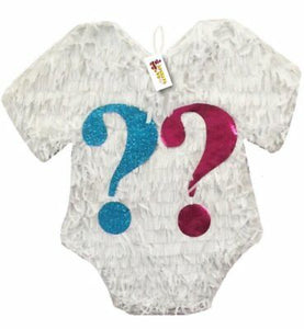 White Color Gender Reveal Pinata with Pink & Blue Question Mark