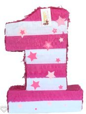 Large Number One Pinata With Stars White & Pink Color