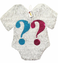Load image into Gallery viewer, White Color Gender Reveal Pinata with Pink & Blue Question Mark