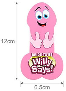 Bride To Be Willy Says! Adults Only Hens Night Bridal Bachelorette Party Fun Game Penis Game