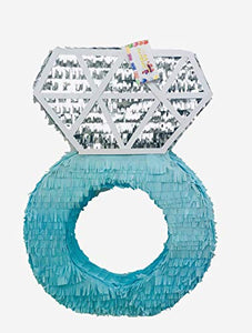 Large Diamond Ring Piñata 2 FT Tall Teal & Silver Color