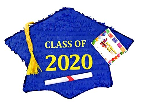 APINATA4U 2020 Royal Blue and Yellow Graduation Cap Pinata