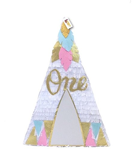 APINATA4U White Teepee Pinata with Gold, Light Blue and Pink Detail for First Birthday