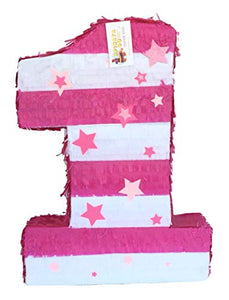 APINATA4U Large Number One Pinata with Stars White & Pink Color
