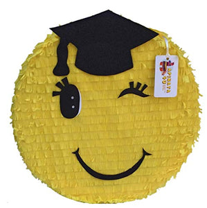 APINATA4U Graduation Emoticon Pinata Black Cap 16""