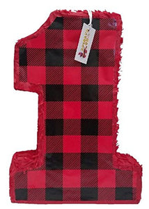 APINATA4U Pull Strings Style Plaid Number One Pinata for Lumberjack Birthday