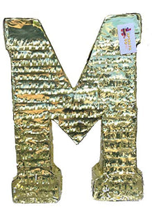 APINATA4U Large Letter M Pinata Gold Color