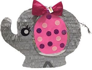 APINATA4U It's a Girl Pink and Gray Baby Elephant Pinata for Baby Shower