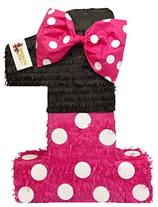 "APINATA4U Large Hot Pink & Black Number One Pinata 23"" Tall"