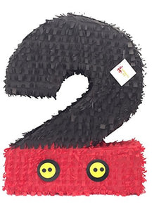 "APINATA4U Black & Red Number Two Pinata 23"" Tall Yellow Buttons"