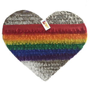 APINATA4U Silver & Rainbow Heart Pinata LGBT Party Supplies