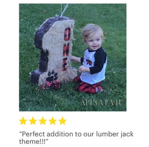Tan Color Number One Pinata Lumberjack Theme Pull Strings Style