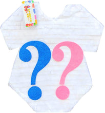 Load image into Gallery viewer, White Onesie with Pink & Blue Question Mark Pinata for Gender Reveal Party