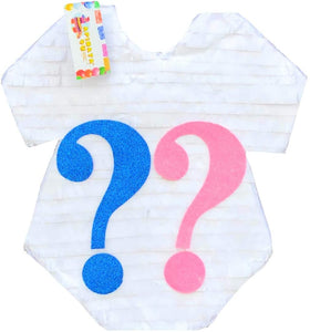 White Onesie with Pink & Blue Question Mark Pinata for Gender Reveal Party