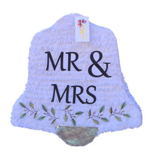"Load image into Gallery viewer, Mr & Mrs Wedding Bell Pinata 19"" Tall White & Silver Colors"
