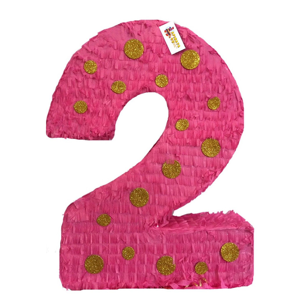 APINATA4U Hot Pink & Gold Polka Dots Number Two Pinata