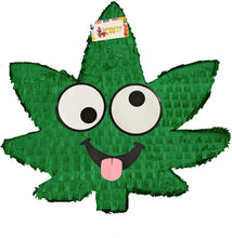Load image into Gallery viewer, Wacky Hemp Leaf Marijuana Adult Pinata | Party Decorations for Bachelorette Party - Hemp Leaf with Eyes 420 Party