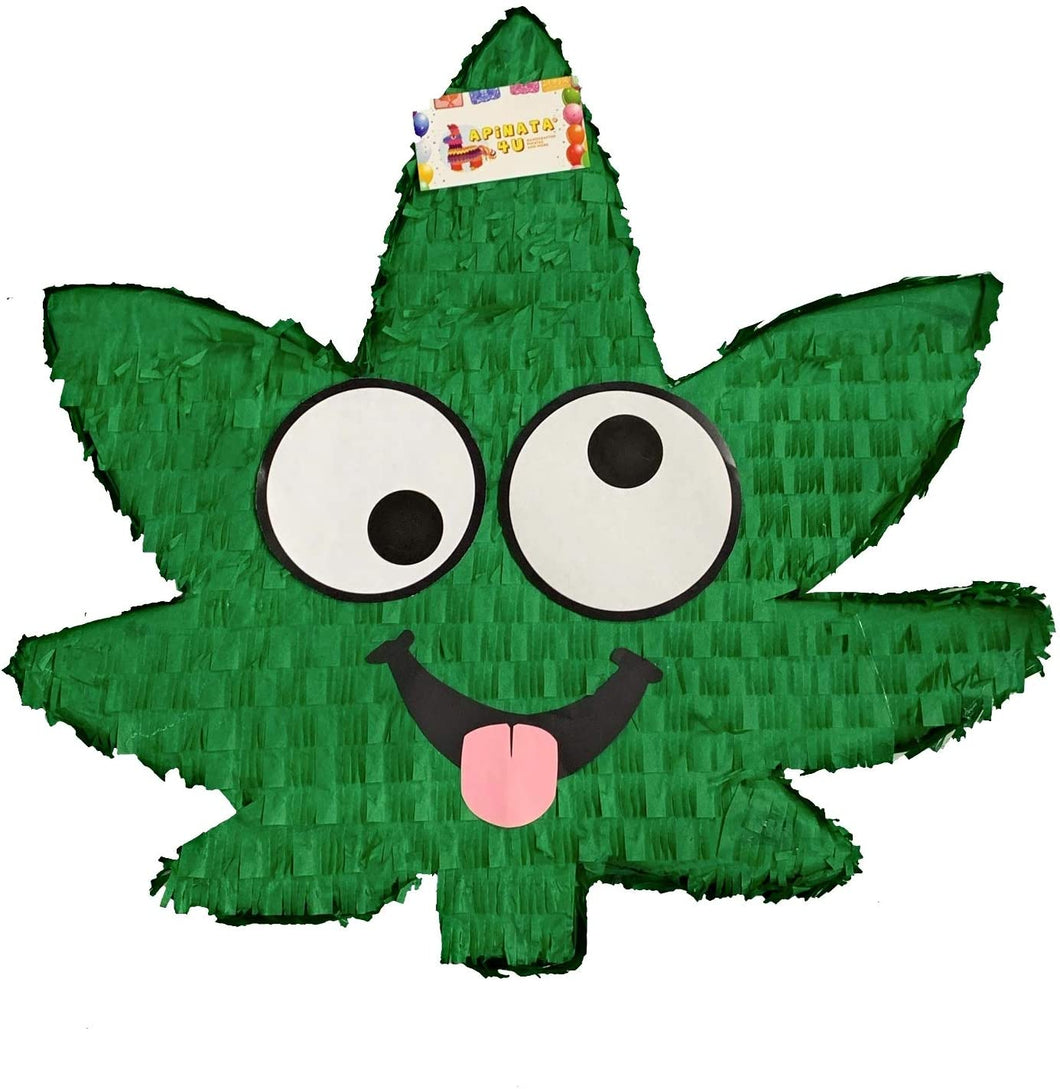 Wacky Hemp Leaf Marijuana Adult Pinata | Party Decorations for Bachelorette Party - Hemp Leaf with Eyes 420 Party