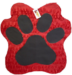 "Red & Black Paw Print Pinata 19"" Tall"