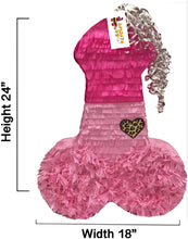 Load image into Gallery viewer, Large Pink Penis Pinata Diva Themed Bachelorette Adult Party Over The Hill Gag Gift