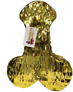 APINATA4U LLC - Large Penis Adult Pinata | Gold Foil Color | Ideal for Bachelorette Party | Made with High Quality Cardboard | for Fun, Party & Game | Size - 2ft Approx | Easy to Use & Fill