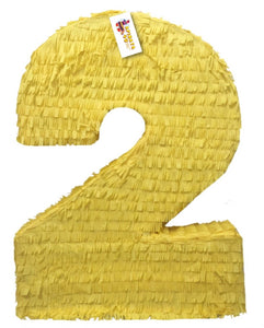 APINATA4U Large Solid Yellow Number Two Pinata Second Birthday