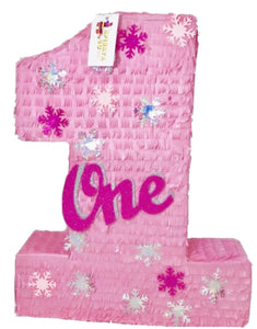 APINATA4U Large Pink Number One Pinata with Snowflakes