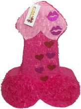Load image into Gallery viewer, APINATA4U LLC - Large Penis Adult Pinata | Hot Pink with Glitter Kisses | Ideal for Bachelorette Party | Made with High Quality Cardboard | Party & Game | Size - 2ft Approx | Easy to Use & Fill
